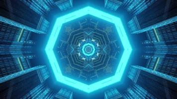 Iluminación de neón azul de la ilustración 3d del túnel futurista foto