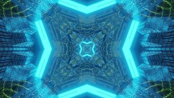 Iluminación geométrica brillante de la ilustración 3d del túnel futurista foto