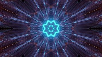 reflejos de luz de neón en el túnel de ciencia ficción ilustración 3d foto