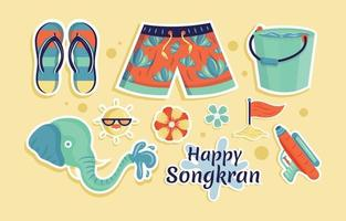 Happy Songkran Water Splashing Festival Sticker vector