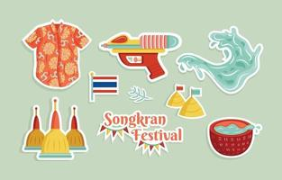 Happy Songkran Water Splashing Festival Sticker Set vector