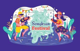 Happy Songkran Water Splashing Festival Concept vector