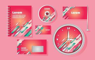 Professional Stationary Kit with Diagonal Shape vector