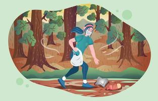 A Girl Picking Up Trash in The Forest vector