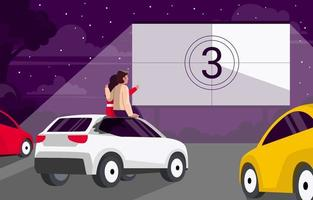 Couple Watch Drive in Movie at Night vector