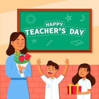 Students Give Flower And Gift to Teacher vector