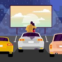 Couple Watching Romantic Drive in Movie vector