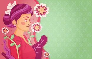 Kartini Wallpaper with Flower and Batik Pattern vector