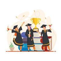 Students Celebrating Graduation Day Concept vector