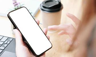 Woman using phone mock-up