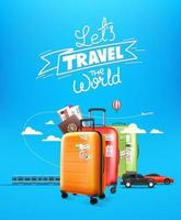 World travel concept with lettering logo. Travel luggage and different vehicles vector