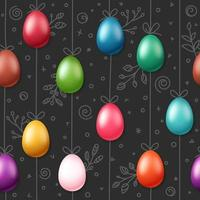 Easter eggs on rope. Holiday seamless pattern