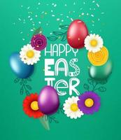 Happy Easter greeting card. Color eggs and flowers vector