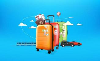 World travel concept. Travel luggage and different vehicles vector