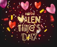 Happy valentines day greeting card with lettering logo vector