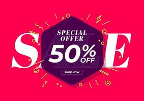 oferta especial de venta 50 por ciento de descuento en banner. Oferta especial de fondo rojo y diseño de plantilla de promoción.