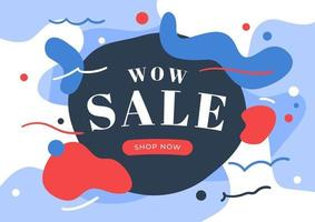 diseño de plantilla de banner de venta wow. venta en la ilustración de vector de fondo abstracto.