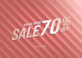 Special offer Sale 70 percent off banner. Rose gold background special offers and promotion template design. vector