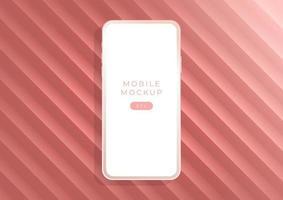 Minimalist golden rose luxury clay mockup smartphones for presentation, application display. vector