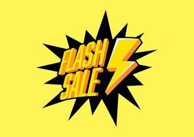 venta flash con truenos sobre fondo amarillo. Diseño de plantilla de banner de venta flash.