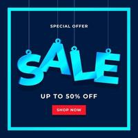 Special offer sale banner template on blue background. vector