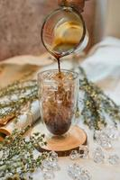 Iced mocha being poured