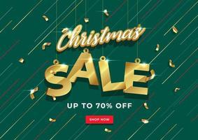 Diseño de plantilla de banner de venta de Navidad. Venta de Navidad dorada sobre fondo verde. vector