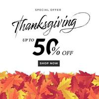 Thanksgiving day sale banner template. vector
