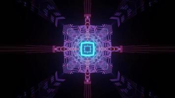 Túnel oscuro con colorida ilustración 3d de iluminación de neón foto