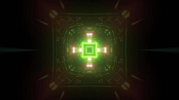 Futuristic green neon corridor 3d illustration photo