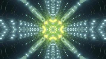 Vibrant neon sci fi corridor 3d illustration photo
