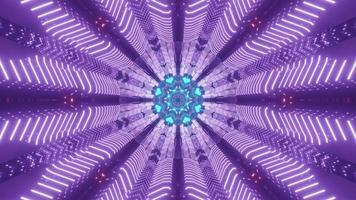Luminous neon ornament with symmetric design 3d illustration photo