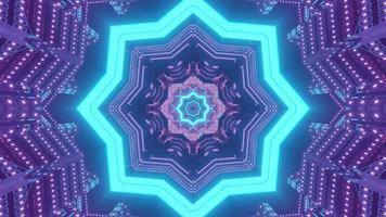 Neon star shaped pattern 3d illustration photo