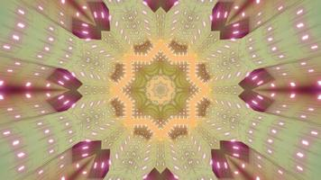 3D illustration of kaleidoscopic star shaped tunnel