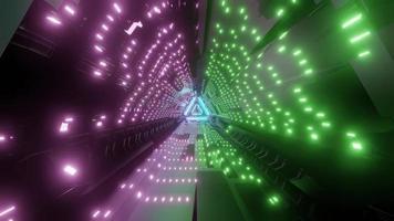 Glowing lights of sci fi corridor 3d illustration