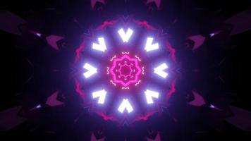 Circular neon illumination in darkness 3d illustration
