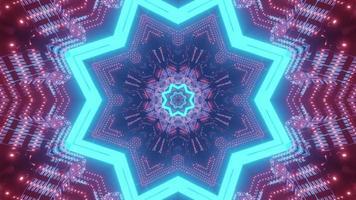 Luminous star shaped tunnel 3d illustration