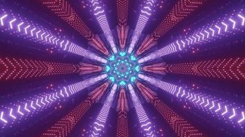 Colorful circular neon illumination 3d illustration
