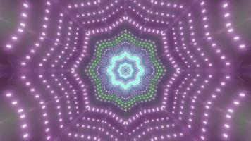 Star shaped tunnel with purple lights 3D illustration