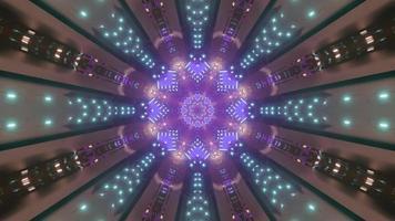 Futuristic tunnel with neon illumination 3D illustration