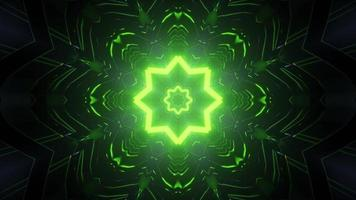 Dark tunnel with shiny green holes 3d illustration