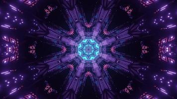 Colorful neon rays in dark futuristic tunnel 3d illustration