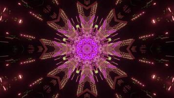 Gleaming neon geometric ornament 3d illustration