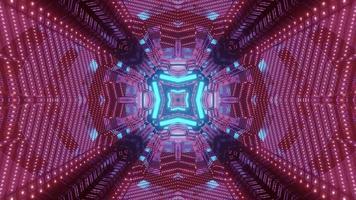 Futuristic tunnel with geometric design in neon lights 3d illustration