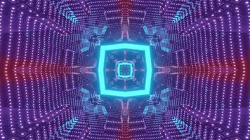 Sci fi corridor with neon lights 3d illustration