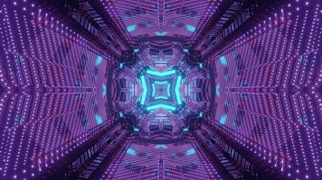 Sci fi tunnel with geometric neon design 3d illustration photo