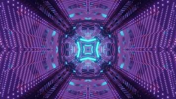 Sci fi tunnel with geometric neon design 3d illustration