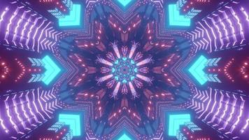 Ornamental geometrical pattern with neon lights 3d illustration