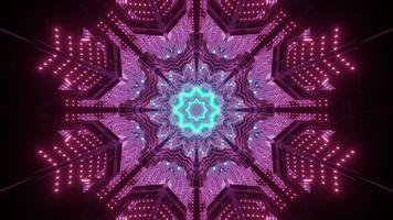 Neon illumination with snowflake shaped ornament 3d illustration