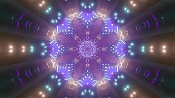 Flower shaped neon tunnel 3D illustration